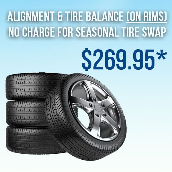 Alignment/Tire Balance incl. Seasonal Tire Swap (on rims*)